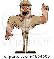 Clipart Of A Buff African American Male Zookeeper With An Idea Royalty Free Vector Illustration