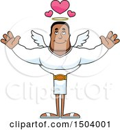 Clipart Of A Buff African American Male Angel With Open Arms Royalty Free Vector Illustration