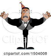 Clipart Of A Scared Buff African American Party Man Royalty Free Vector Illustration