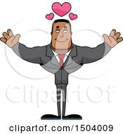 Clipart Of A Buff African American Business Man With Open Arms Royalty Free Vector Illustration