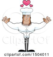 Clipart Of A Buff African American Male Chef With Open Arms Royalty Free Vector Illustration
