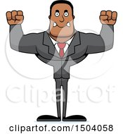 Clipart Of A Mad Buff African American Business Man Royalty Free Vector Illustration