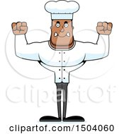 Clipart Of A Mad Buff African American Male Chef Royalty Free Vector Illustration