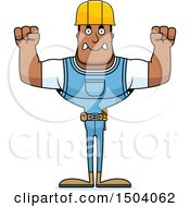 Clipart Of A Mad Buff African American Male Construction Worker Royalty Free Vector Illustration