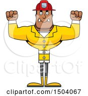 Clipart Of A Mad Buff African American Male Fire Fighter Royalty Free Vector Illustration