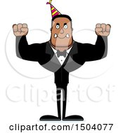 Clipart Of A Mad Buff African American Party Man Royalty Free Vector Illustration