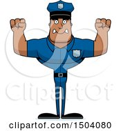 Clipart Of A Mad Buff African American Male Police Officer Royalty Free Vector Illustration