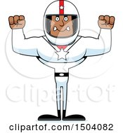 Clipart Of A Mad Buff African American Male Racer Royalty Free Vector Illustration