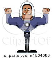 Clipart Of A Mad Buff African American Space Man Or Astronaut Royalty Free Vector Illustration