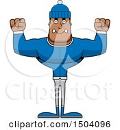 Clipart Of A Mad Buff African American Winter Man Royalty Free Vector Illustration