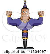 Clipart Of A Mad Buff African American Male Wizard Royalty Free Vector Illustration