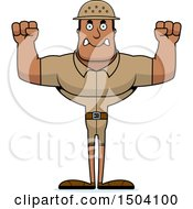 Clipart Of A Mad Buff African American Male Zookeeper Royalty Free Vector Illustration