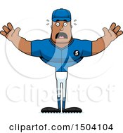 Poster, Art Print Of Scared Buff African American Male Baseball Player
