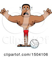 Clipart Of A Scared Buff African American Male Beach Volleyball Player Royalty Free Vector Illustration