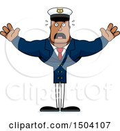 Clipart Of A Scared Buff African American Male Sea Captain Royalty Free Vector Illustration