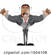 Clipart Of A Scared Buff African American Business Man Royalty Free Vector Illustration