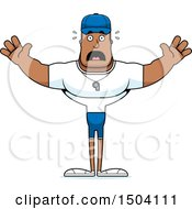 Clipart Of A Scared Buff African American Male Coach Royalty Free Vector Illustration