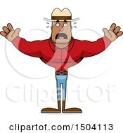 Clipart Of A Scared Buff African American Male Cowboy Royalty Free Vector Illustration