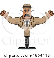 Clipart Of A Scared Buff African American Male Detective Royalty Free Vector Illustration