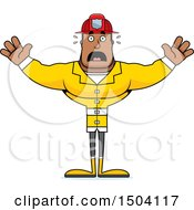 Clipart Of A Scared Buff African American Male Fire Fighter Royalty Free Vector Illustration