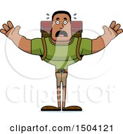 Clipart Of A Scared Buff African American Male Hiker Royalty Free Vector Illustration