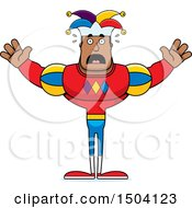 Clipart Of A Scared Buff African American Male Jester Royalty Free Vector Illustration
