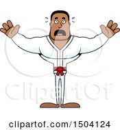 Clipart Of A Scared Buff African American Karate Man Royalty Free Vector Illustration