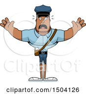 Clipart Of A Scared Buff African American Mail Man Royalty Free Vector Illustration