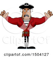 Clipart Of A Scared Buff African American Male Pirate Captain Royalty Free Vector Illustration