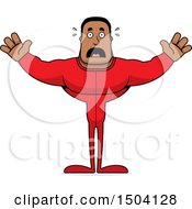 Clipart Of A Scared Buff African American Man In Pjs Royalty Free Vector Illustration
