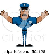 Clipart Of A Scared Buff African American Male Police Officer Royalty Free Vector Illustration