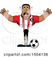 Clipart Of A Scared Buff African American Male Soccer Player Royalty Free Vector Illustration