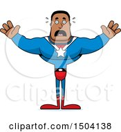 Clipart Of A Scared Buff African American Male Super Hero Royalty Free Vector Illustration
