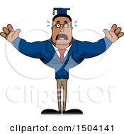 Clipart Of A Scared Buff African American Male Teacher Royalty Free Vector Illustration