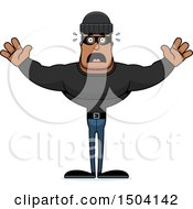 Clipart Of A Scared Buff African American Male Robber Royalty Free Vector Illustration
