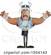 Clipart Of A Scared Buff African American Male Viking Royalty Free Vector Illustration