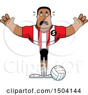 Clipart Of A Scared Buff African American Male Volleyball Player Royalty Free Vector Illustration
