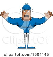 Clipart Of A Scared Buff African American Winter Man Royalty Free Vector Illustration