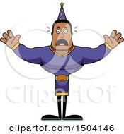 Clipart Of A Scared Buff African American Male Wizard Royalty Free Vector Illustration