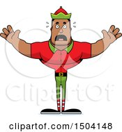 Scared Buff African American Male Christmas Elf