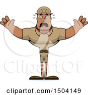 Clipart Of A Scared Buff African American Male Zookeeper Royalty Free Vector Illustration