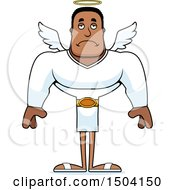 Clipart Of A Sad Buff African American Male Angel Royalty Free Vector Illustration