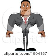 Clipart Of A Sad Buff African American Business Man Royalty Free Vector Illustration by Cory Thoman