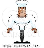 Clipart Of A Sad Buff African American Male Chef Royalty Free Vector Illustration