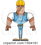 Clipart Of A Sad Buff African American Male Construction Worker Royalty Free Vector Illustration