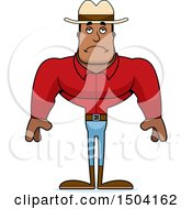 Clipart Of A Sad Buff African American Male Cowboy Royalty Free Vector Illustration