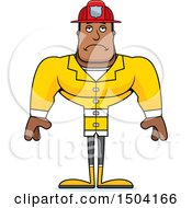 Clipart Of A Sad Buff African American Male Fire Fighter Royalty Free Vector Illustration
