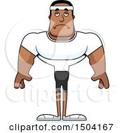 Clipart Of A Sad Buff African American Fitness Man Royalty Free Vector Illustration by Cory Thoman
