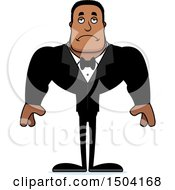 Clipart Of A Sad Buff African American Male Groom Royalty Free Vector Illustration