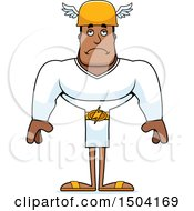 Clipart Of A Sad Buff African American Male Hermes Royalty Free Vector Illustration